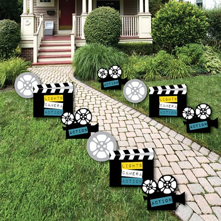 Movie - Camera, Movie Reel and Film Clapper Lawn Decorations - Outdoor Hollywood Party Yard Decorations - 10 Piece ()