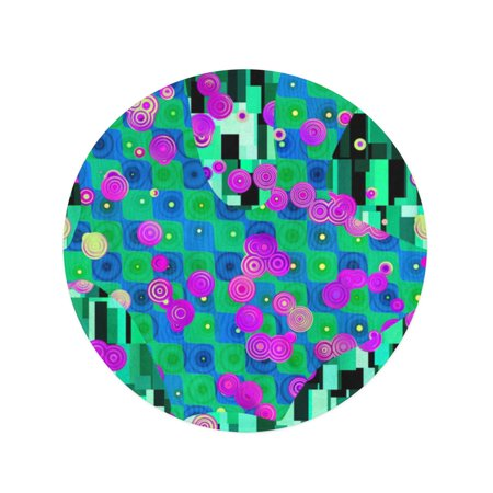 JSDART 60 inch Round Beach Towel Blanket Blue Abstractionism Abstract Pattern in Gustav Klimt Green Annulus Travel Circle Circular Towels Mat Tapestry Beach Throw - image 1 de 2