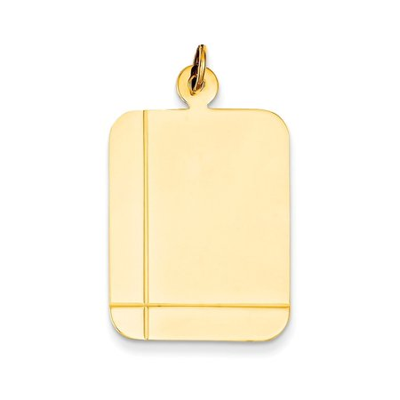 14kt Yellow Gold Plain Rectangular .035 Gauge Engravable Disc Pendant Charm Necklace Square Rectangle Fine Jewelry For Women Gift (Gold Rectangle Pendant)