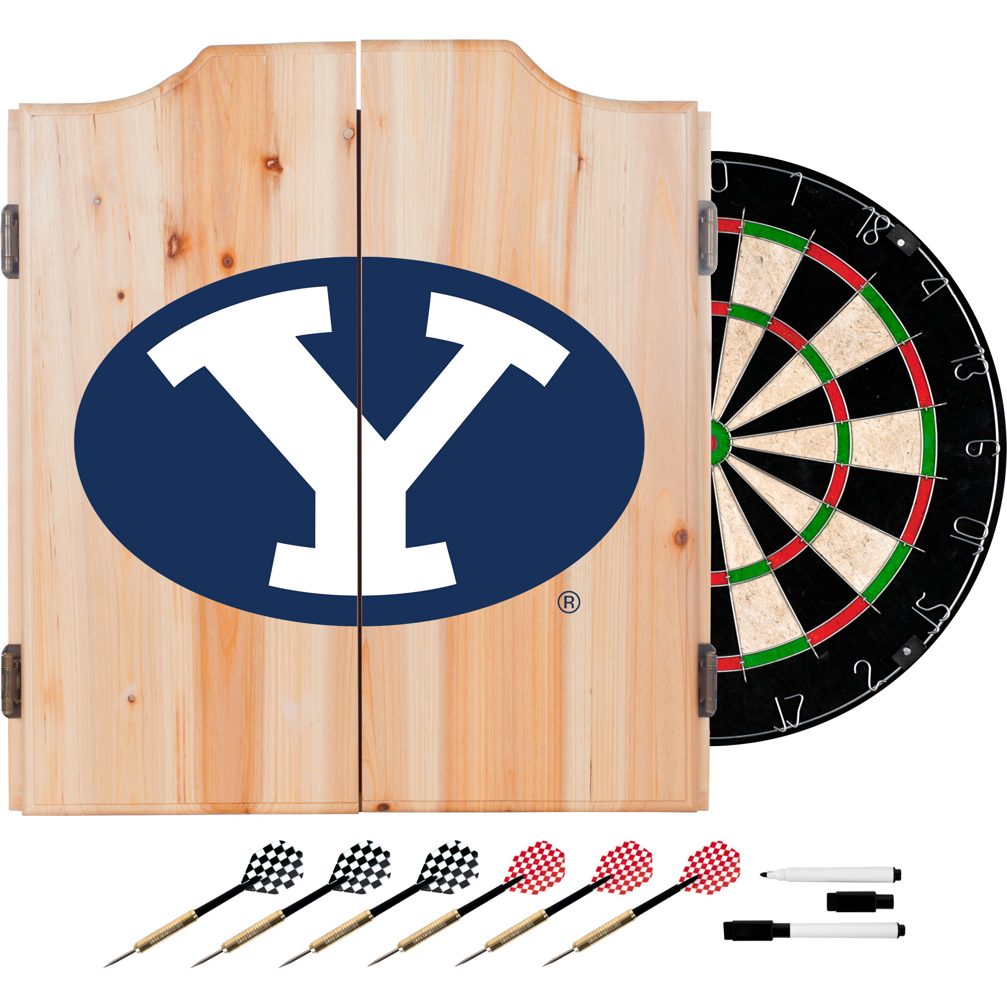 Image of Brigham Young University BYU Dart Cabinet - Includes Darts and Board