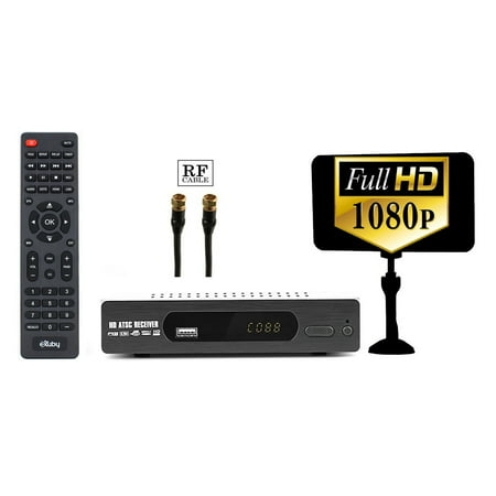 Digital Converter Box for TV + Antenna + RF Cable for Recording and Viewing Full HD Digital Channels FREE (Instant or Scheduled Recording, 1080P HDTV, HDMI Output, 7 Day Program (Hdtv Tuner Box)