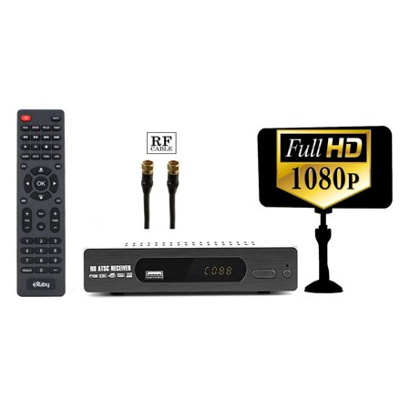 Digital Converter Box for TV + Antenna + RF Cable for Recording and Viewing Full HD Digital Channels FREE (Instant or Scheduled Recording, 1080P HDTV, HDMI Output, 7 Day Program Guide)