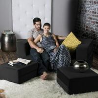 Jaxx Zipline Convertible Sleeper Loveseat & Ottomans / Queen-Size Bed, Java