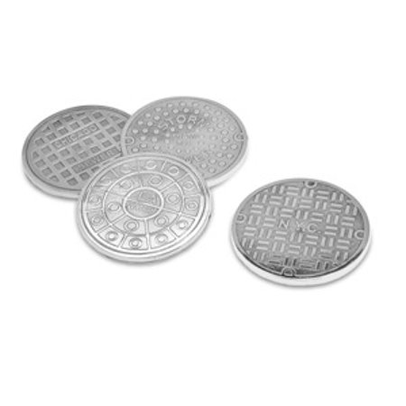 U.S. Cities Silver-Plated Manhole Sewer Covers Drink Beverage Coasters, Set of 4