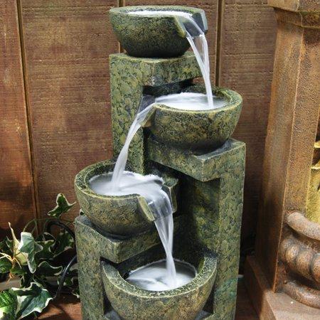 Alpine Corporation 3-Tier Cascading Stone Bowl