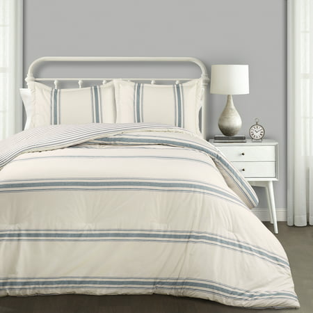 Farmhouse Stripe Comforter Blue 3Pc Set Full/Queen ()