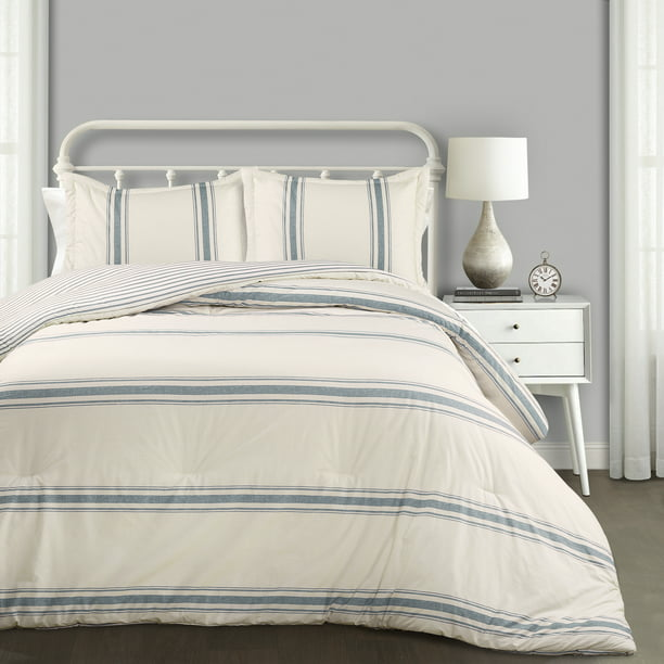 Lush Decor Farmhouse Blue Stripe 3 Piece Comforter Set Full Queen