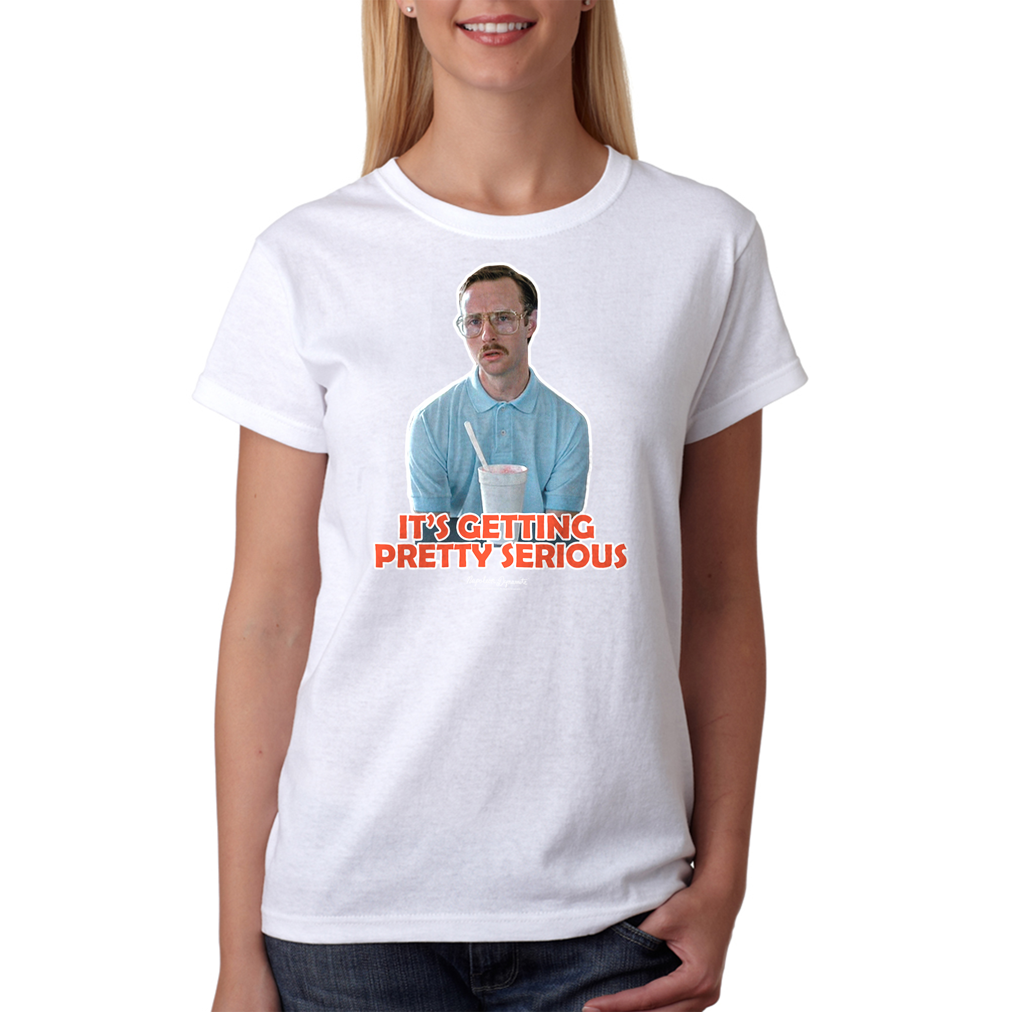 Napoleon Dynamite Getting Serious Outline Women's White Funny T-shirt NEW Sizes S-2XL