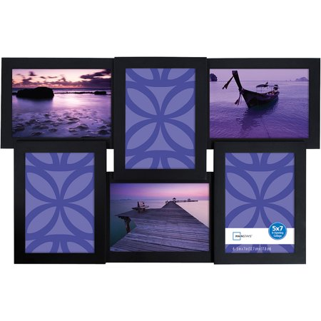 Mainstays 6-Opening 5u0022 x 7u0022 Collage Frame with Glass, Black