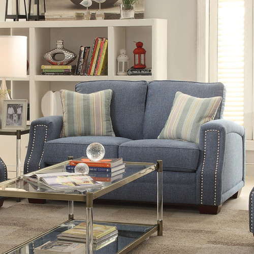 ACME Betisa Nailhead Loveseat with 2 Pillows, Light Blue Fabric