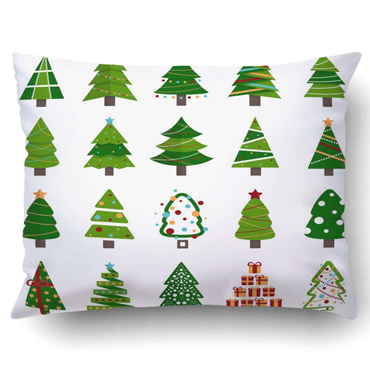 WOPOP Xmas Different Christmas Tree Set Green Xmas Gift Pillow Case Cushion Cover Case Throw Pillow Case 20x30 inches