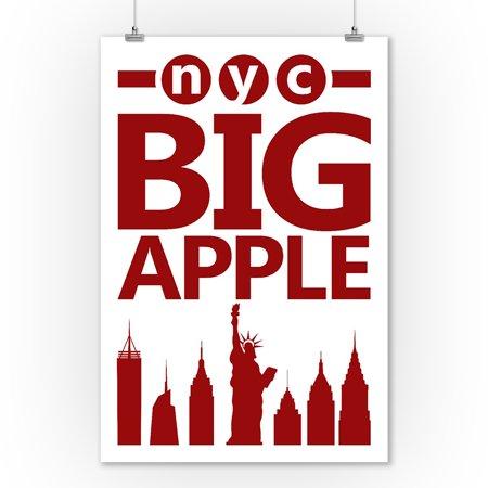 New York City, New York - Retro Skyline - Big Apple Silhouette - Lantern Press Artwork (9x12 Art Print, Wall Decor Travel - Bug Silhouette