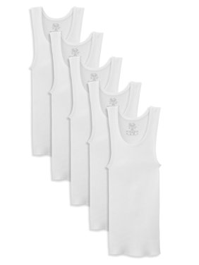 Fruit of the Loom White Tank Undershirts, 5 Pack (Little Boys & Big Boys)