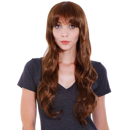 Women Cosplay Party Costume Long Curly Wave Wigs with Free Wig Cap
