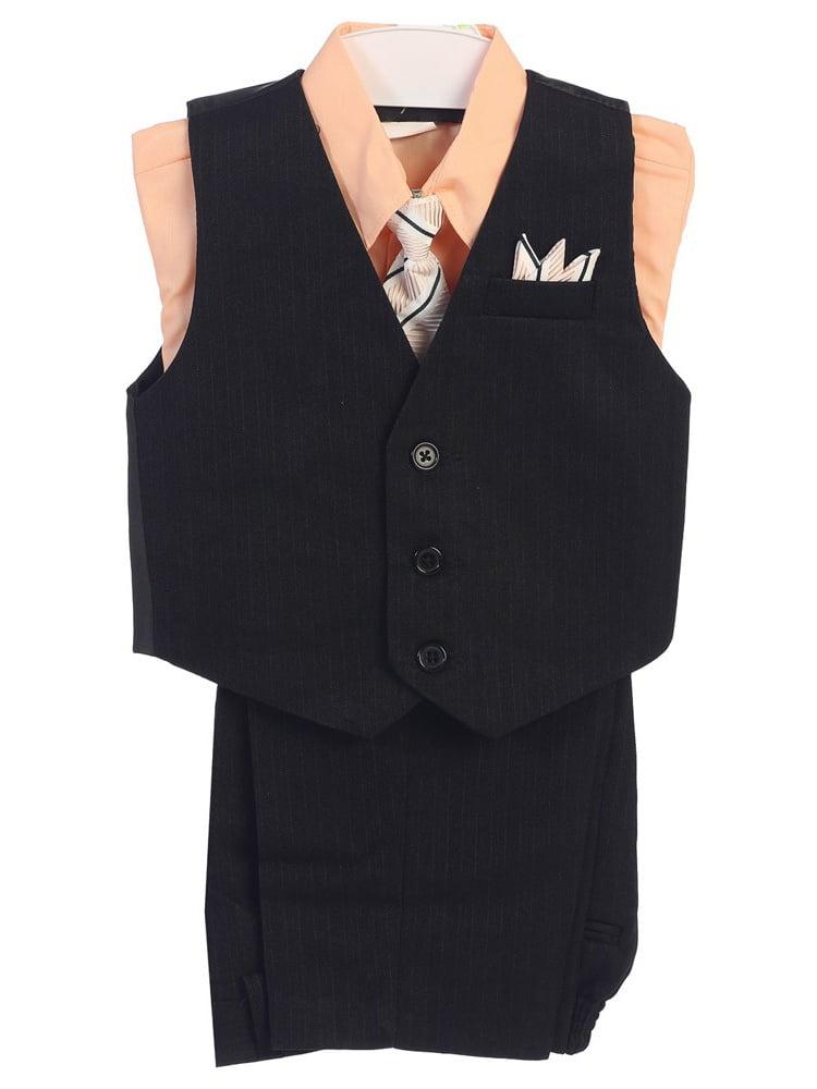Angels Garment Boys Light Pink 4 Piece Pin Striped Vest Set Suit 8-20