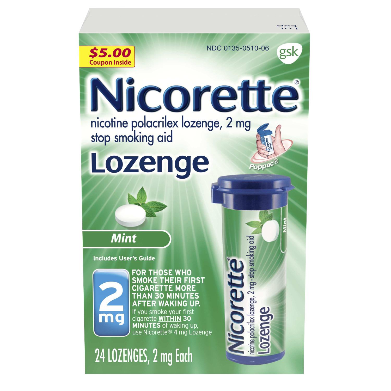 Nicorette Nicotine Lozenge, Stop Smoking Aid, 2 mg, Mint Flavor, 24 count
