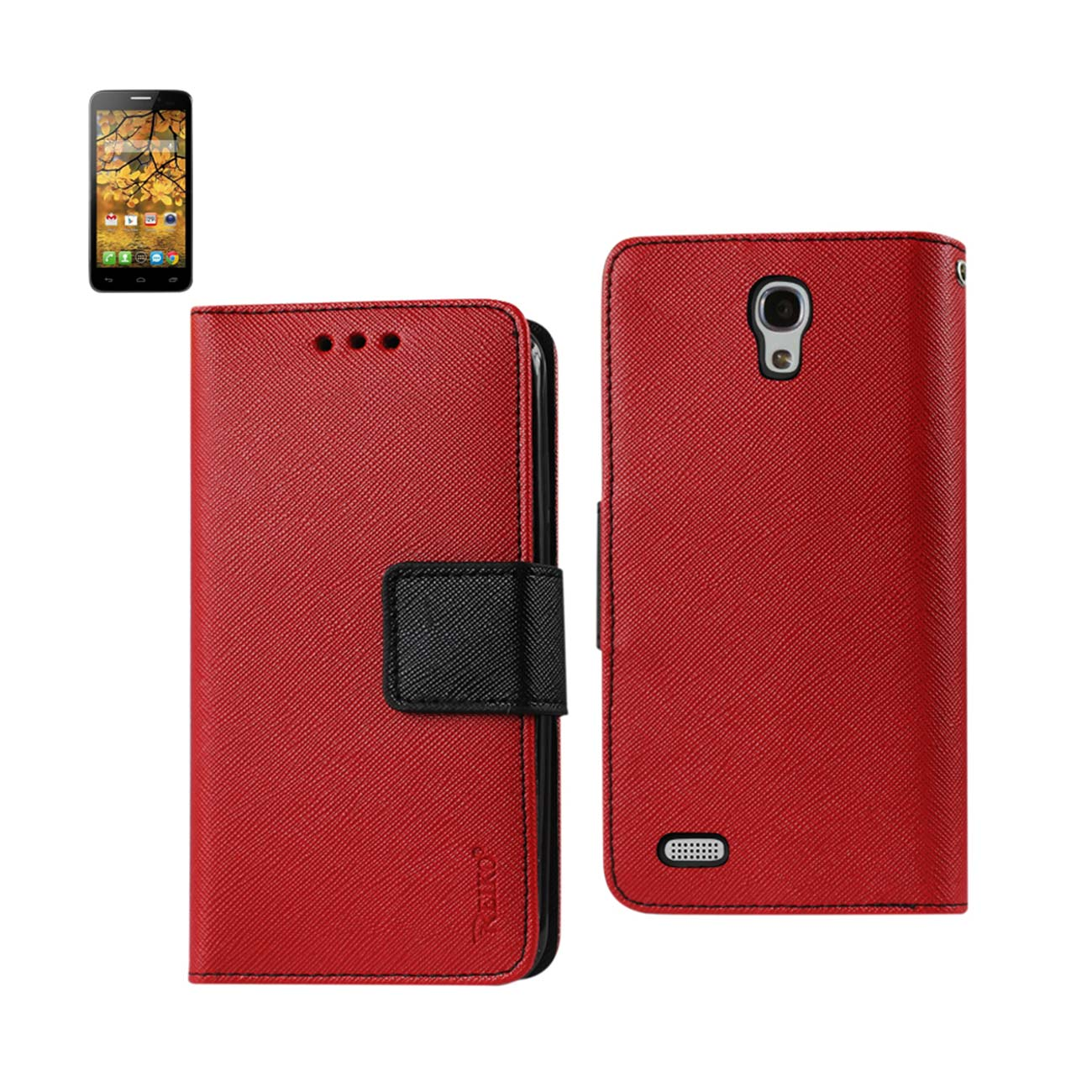 REIKO ALCATEL ONE TOUCH CONQUEST 3-IN-1 WALLET CASE IN RED
