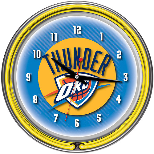 TRADEMARK GAMES INC Oklahoma City Thunder NBA 14 Neon Wall Clock