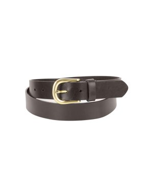 1-1/4 in. US Steer Hide Leather Men's Dress Belt with Curved Gold Color Finish Buckle- Brown