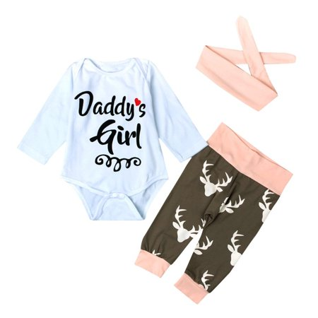 DZT1968 Kid Xmas Newborn Baby Girl Romper Bodysuit+Pants Hairband Clothes Outfits Set
