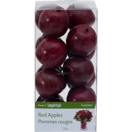 FloraCraft SimpleStyle Red Apple Pommes Rouges, 15 Count Mini Accents Apple
