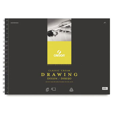 Canson Classic Cream Drawing Pad - Wire Bound - 80 lb - 18 x 24 inches