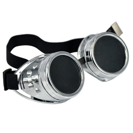 Deluxe Steampunk Goggles Smoked Lens Eyewear Industrial Aviator Pilot Costume - Woman Pilot Costume