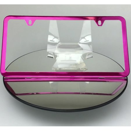 Slim 2 Holes Style Powder Coated Candy Pink Stainless Steel License Plate Frame