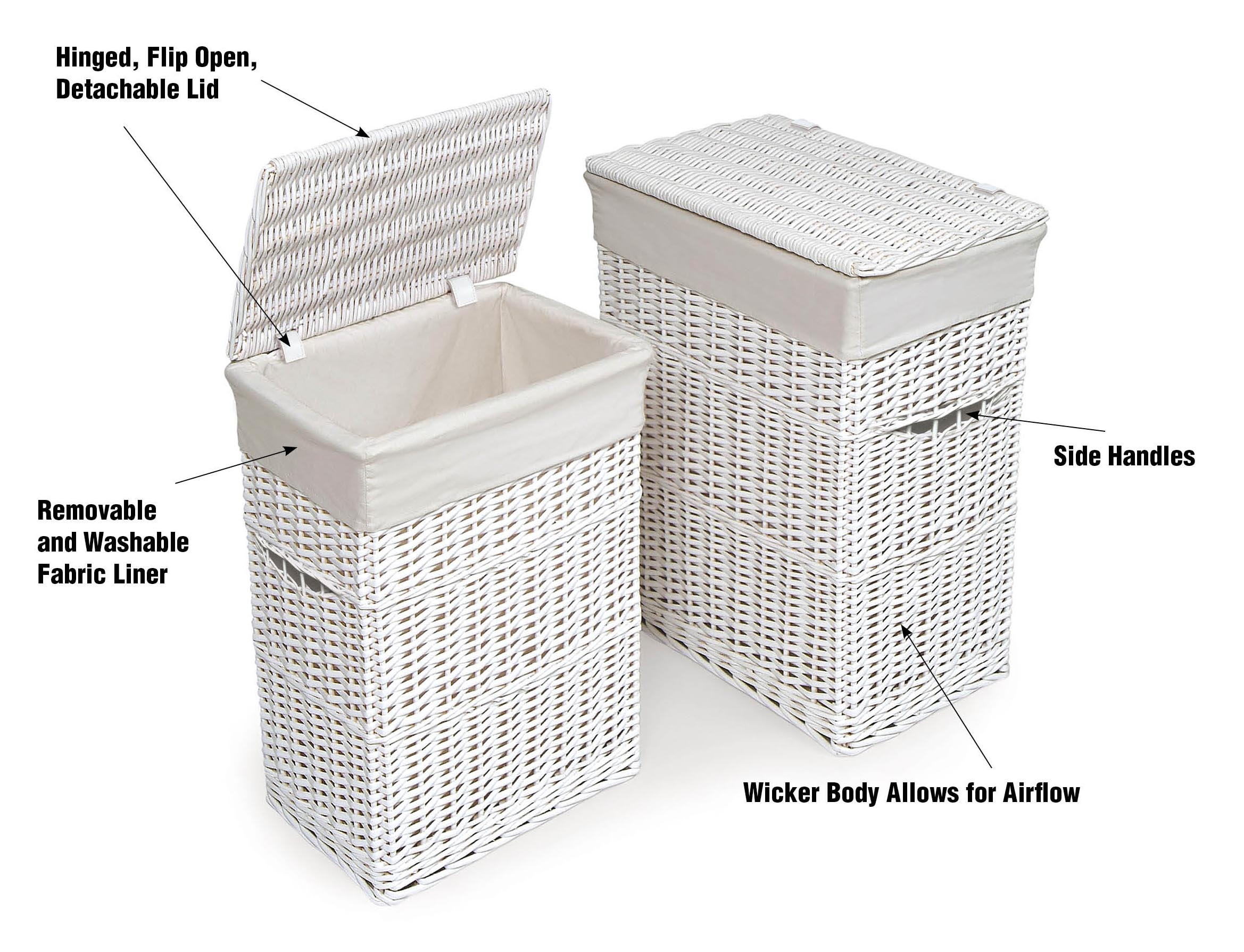 Badger Basket Wicker Two Hamper Set with Liners - Natural