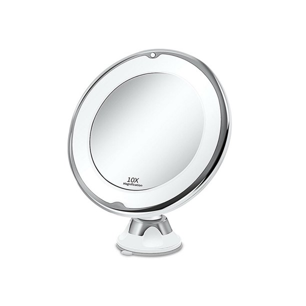 Adjustable 10x Magnification Lighted, Suction Magnifying Mirror For Bathroom