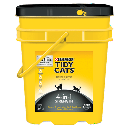 Purina Tidy Cats 4-in-1 Strength Clumping Cat Litter, 35-lb Pail for $<!---->
