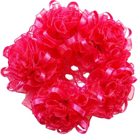 Wenchoice Girl's Hot Pink Curly Bouquet Bun Cover One Size - Hot Cunny