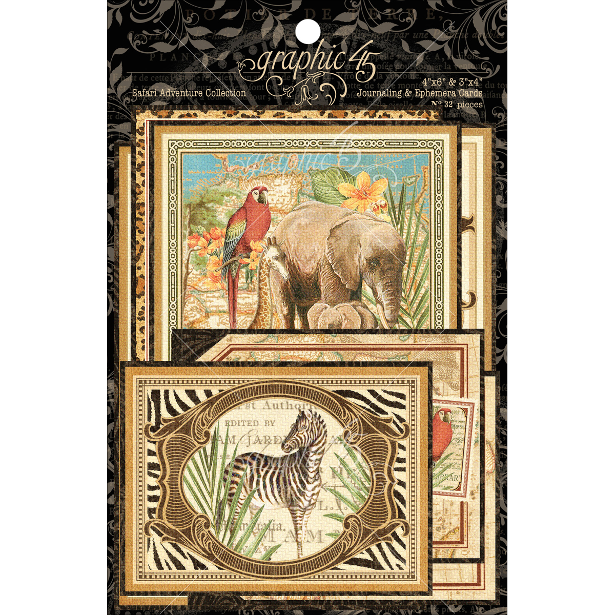"Safari Adventure Ephemera Cards-(16) 4""X6"" & (16) 3""X4"""