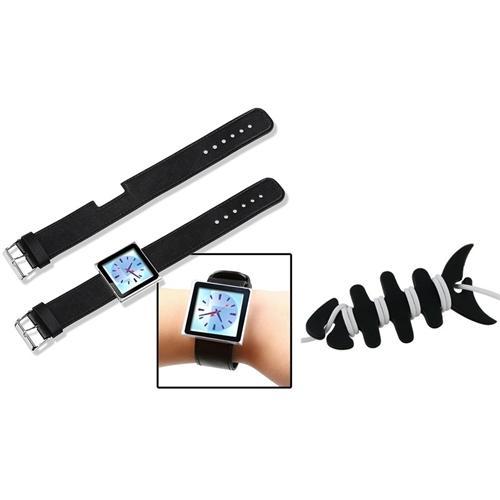 INSTEN Leather Watch Strap Wrist Band For Apple iPod Nano 6th Gen 6G +Fishbone Wrap