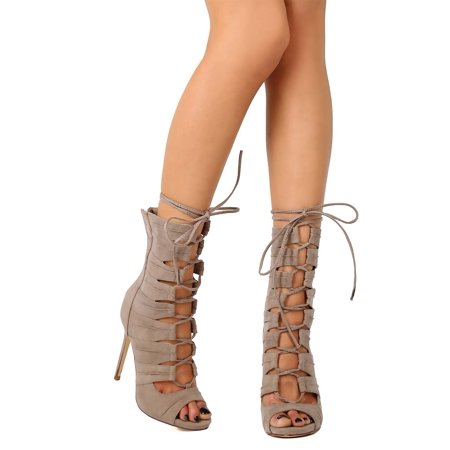 EG99 Women Suede Peep Toe Gilly Tie Stiletto Gladiator Bootie
