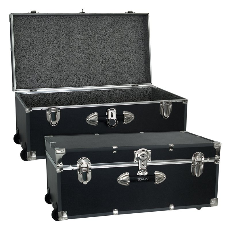 Locking Trunk With Wheels Black