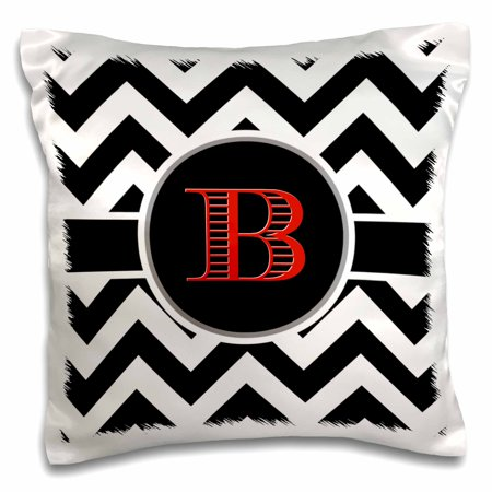 3dRose Black and white chevron monogram red initial B - Pillow Case, 16 by 16-inch - Red And White Chevron