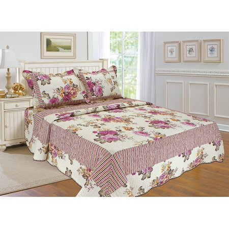 All for You 3pc Reversible Quilt Set, Bedspread, or Coverlet with Flower Prints-4 different sizes-Pink and cream color ( full/queen 86