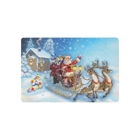 CADecor Snow Snowflake Landscape Door Mat Home Decor, Winter Holiday Christmas Santa Claus and Reindeer Indoor Outdoor Entrance Doormat 23.6x15.7 Inches](Winter Door Decorations For Classrooms)