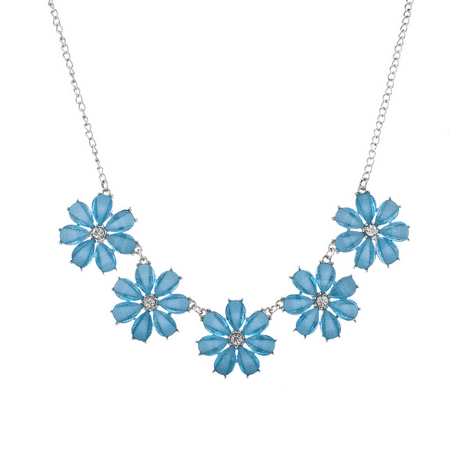 Lux Accessories Silver Tone and Blue Rhinestone Five Flower Statement Necklace