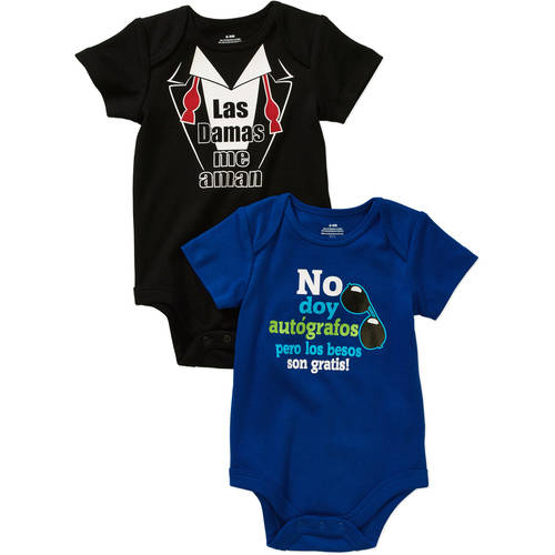 Newborn Baby Boy Spanish Attitude Bodysuits  - 2 Pack