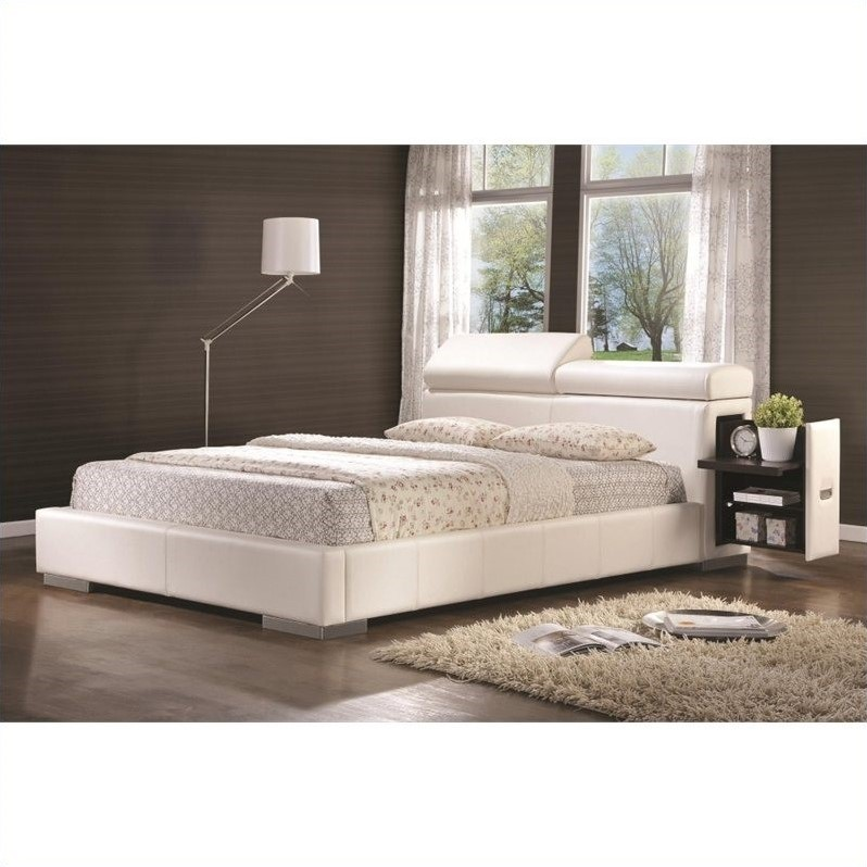 Leather Upholstered Queen Bed In White