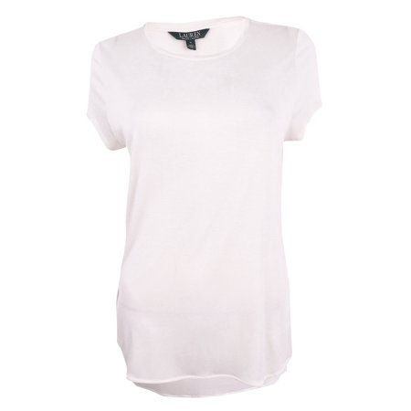 RALPH LAUREN Womens White Short Sleeve Scoop Neck Hi-Lo Top Size: L