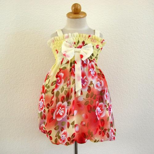 Yellow Red Floral Casual Bubble Dress Girls 4