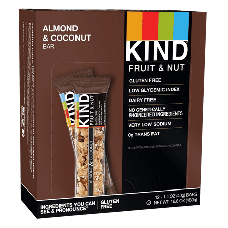 KIND Bars, Almond & Coconut, Gluten Free, Low Sugar, 1.4oz, 12 Count