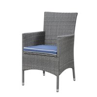 Emerald Home Ridgemonte Gray Outdoor Dining Chair Set with All Weather Wicker And Spuncrylic Fabric Cushion