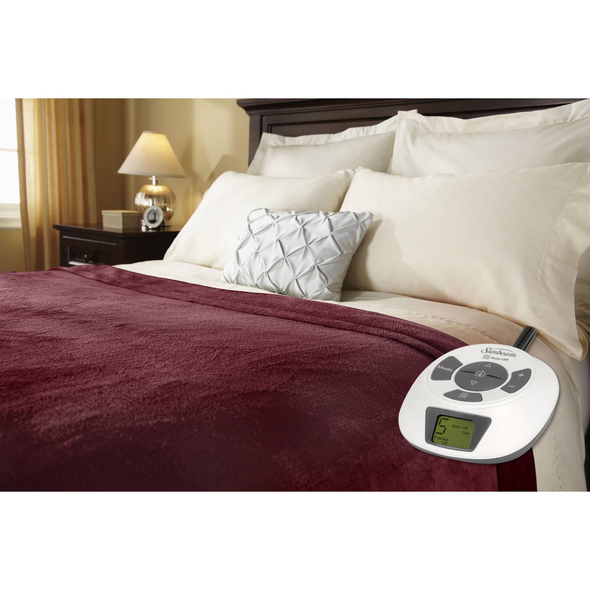 Sunbeam Electric Heated Velvet Plush Blanket   Walmart.com