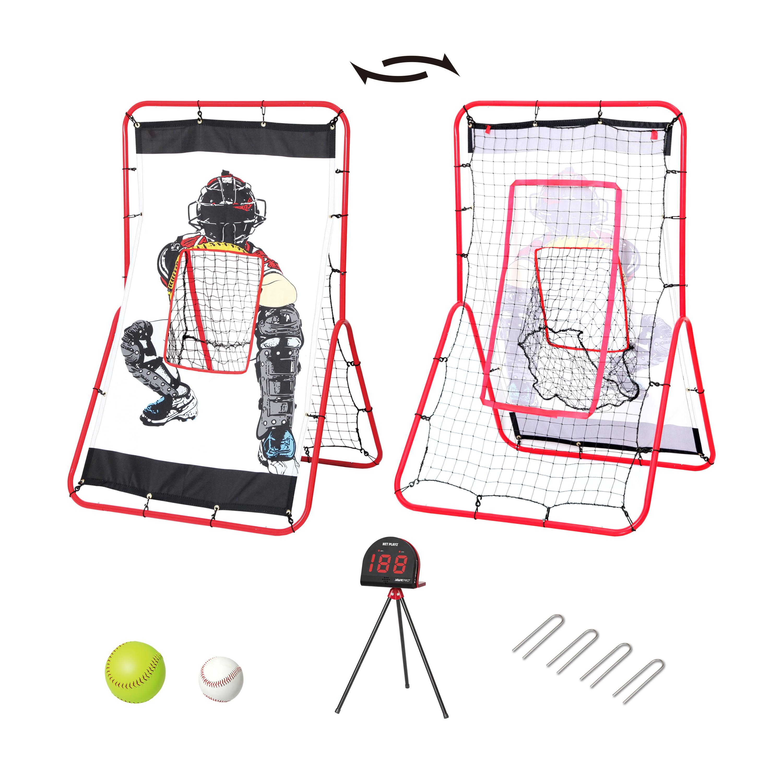 Net Playz Personal Speed Radar Baseball/Softball 2 In 1 Pitching & Rebound Trainer Combo