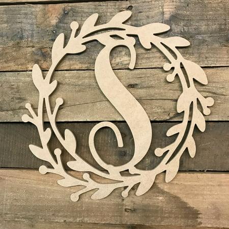 Wooden Cursive Wreath Frame Monogram 12'' S, Wood Letter Cutout - S Monogram