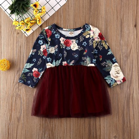 Infant Toddler Baby Girl Floral Princess Dress Long Sleeve Flowers Tulle Skirt Party Dresses Outfit - image 2 de 5